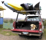 Universal Truck Rack.  Set of two racks attach to most pickup trucks by clamping to the bed rails.  Carries two canoes or multiple kayaks. Loading bars make it easy for one person to load boats. Made in the USA